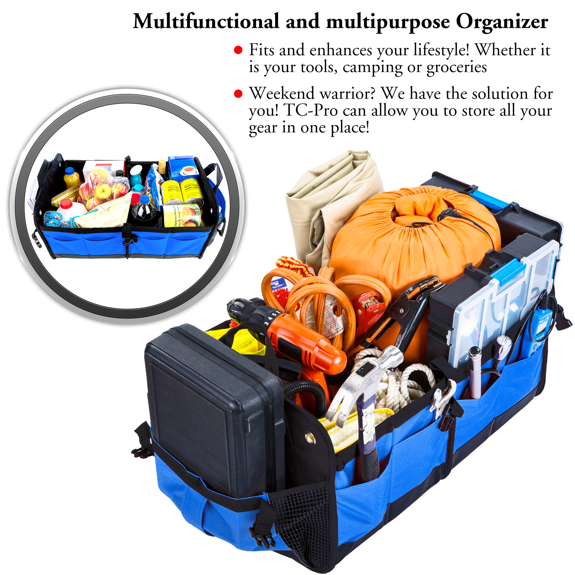 multifunctional and multipurpose with straps trunk organizer